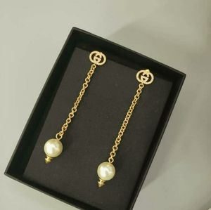 GUCCI Interlocking G Long Earrings with Pearls
